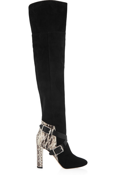 Jimmy Choo Doma 100 Black Suede, Natural Gloss Elaphe, And Black Vachetta Leather Over The Knee Boots