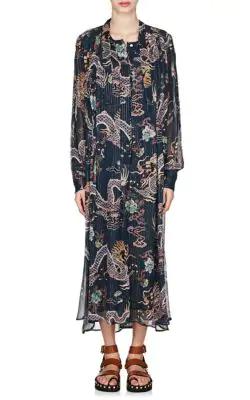 cb35edf3 Isabel Marant Long-Sleeve Dragon-Print Metallic-Silk Midi Dress In Blue