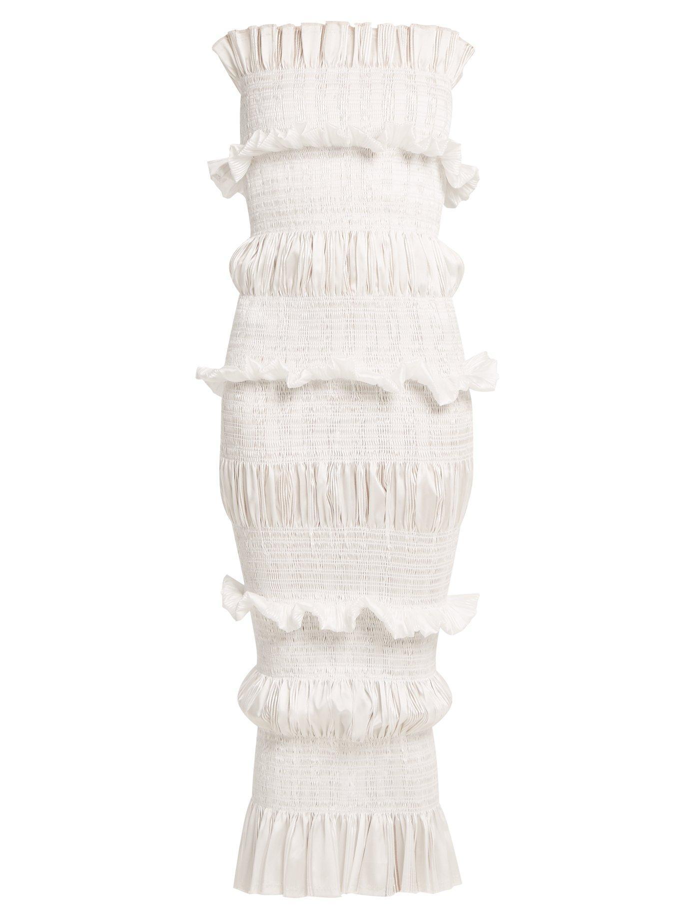 Emilio De La Morena Coralie Contrast-Panel Organza Dress In White