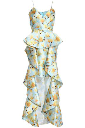 4fa24a26 Badgley Mischka Floral-Print Mikado Ruffle High-Low Gown In Sky Blue ...