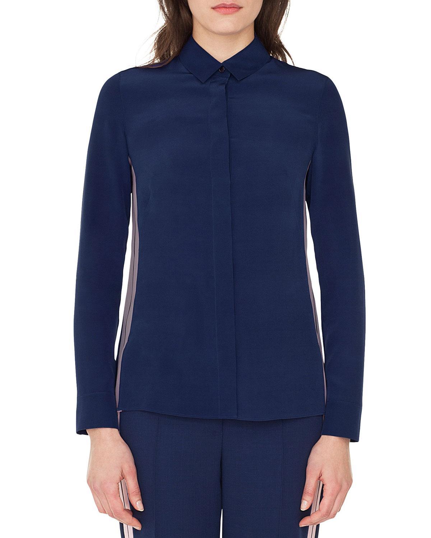 Akris Long-Sleeve Button-Down Silk Blouse W/ Racing Stripe In Dark Blue
