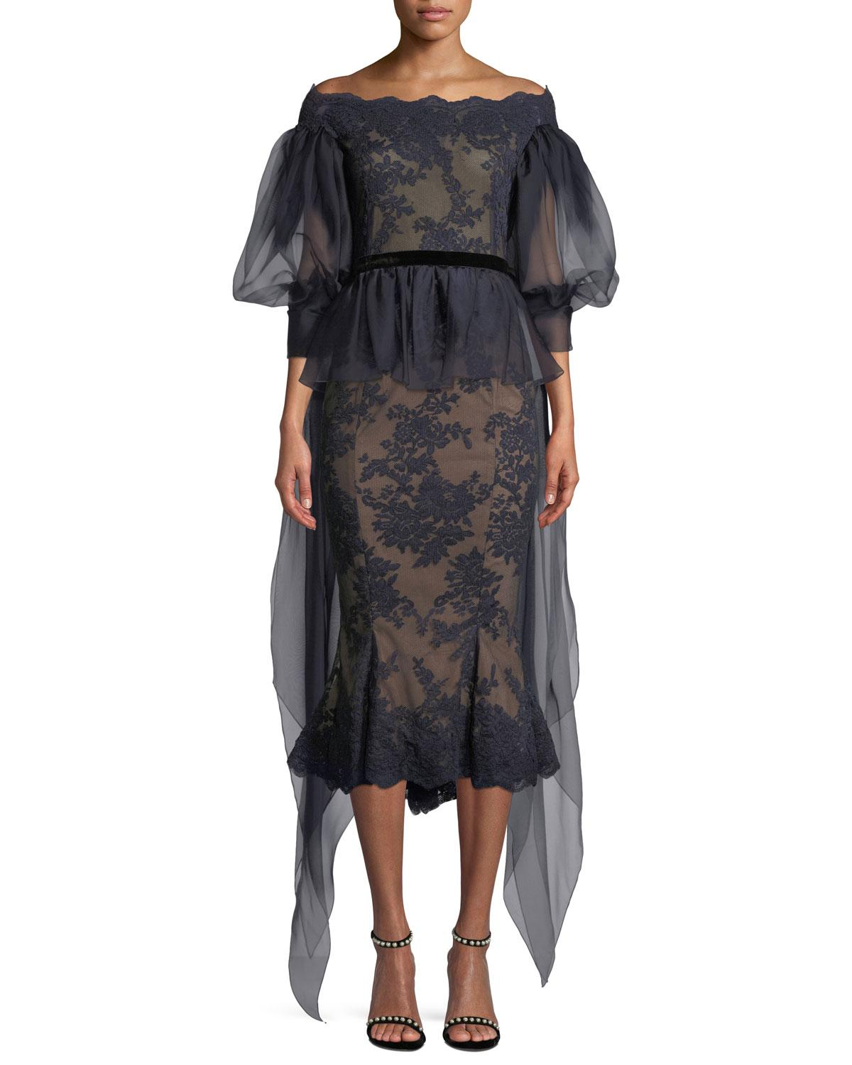 6a420f301ca5a Marchesa Off-The-Shoulder Organza Balloon Sleeve Lace Blouse In Navy ...