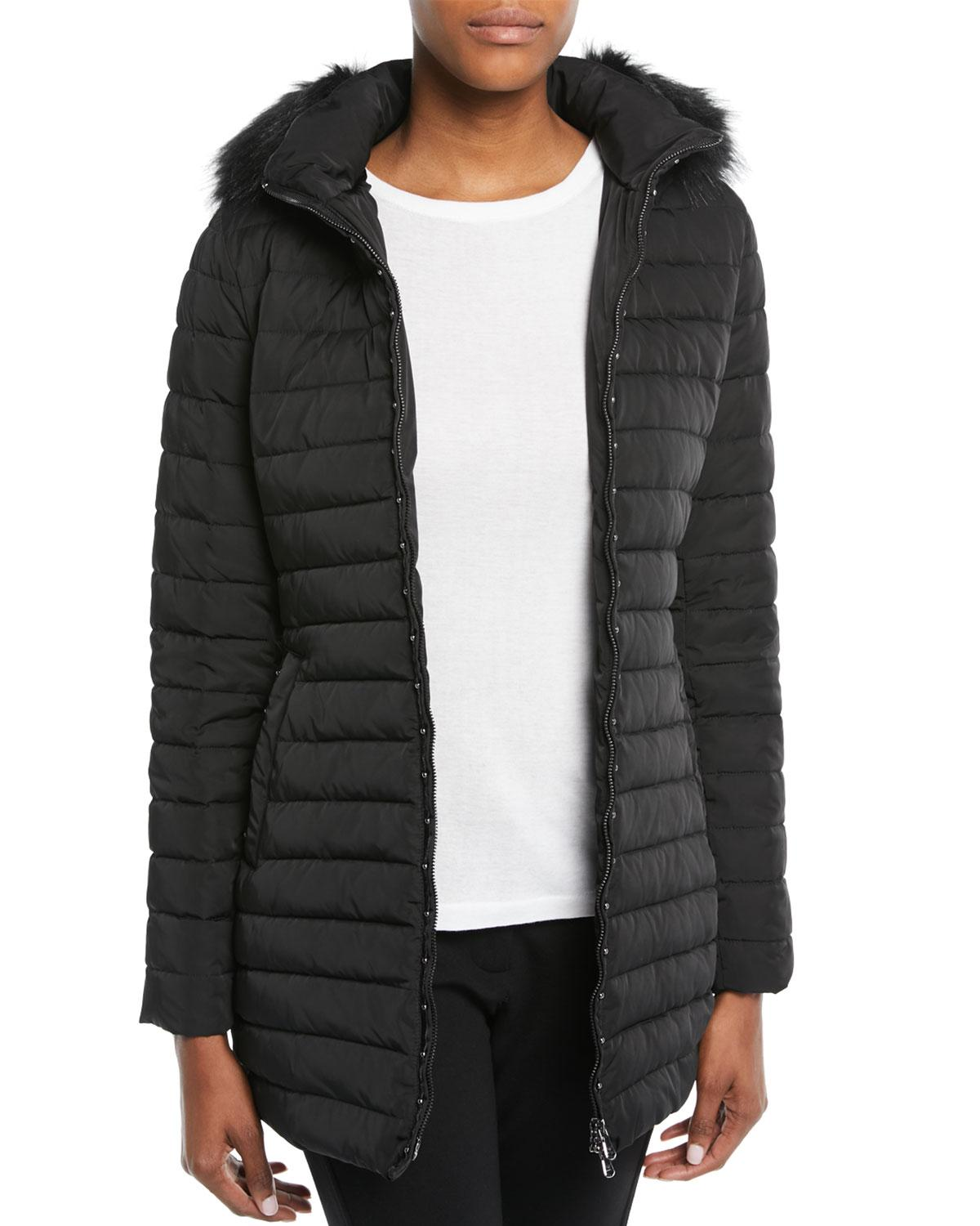 c3ffabf2c7 Zip-Front Fitted Quilted Puffer Parka Jacket W/ Detached Hood in Black
