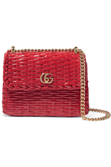 7f985eb9c Gucci Small Linea Cestino Glazed Wicker Shoulder Bag - Red In Rosso ...