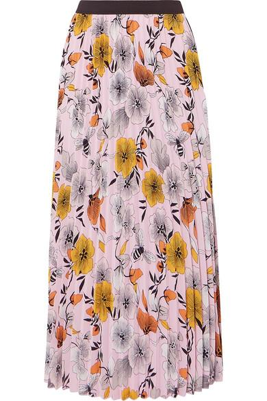 6d1a6ed41c Maje Pleated Floral-Print Crepe De Chine Midi Skirt In Pink | ModeSens