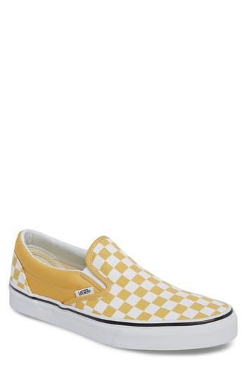 fdf16d86a1f7e4 Vans Classic Slip-On In Ochre  True White Checkerboard