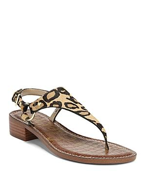 428a6cec0536 Sam Edelman Women s Jude Leopard Print Calf Hair Thong Sandals In New Nude Leopard  Calf Hair