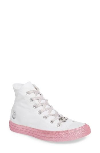4e90f81049 Converse X Miley Cyrus Chuck Taylor All Star Glitter High Top Sneaker In  White  Pink