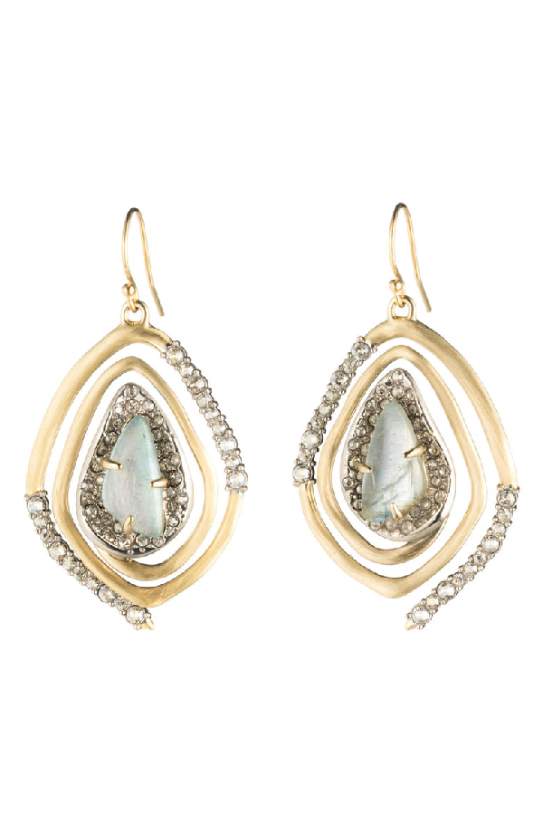 Alexis Bittar Crystal Encrusted Spiral Drop Earrings In Gold/ Silver
