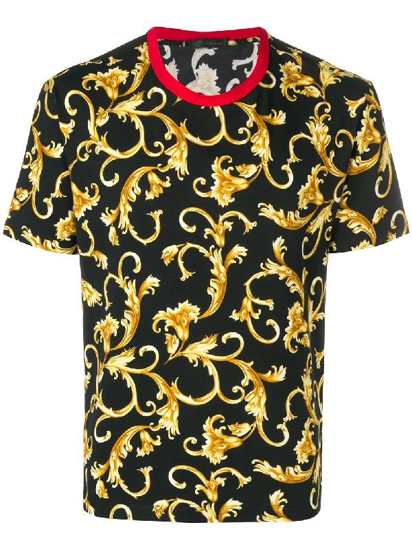 246f13a8 Versace Classic Baroque Print T-Shirt In Black   ModeSens