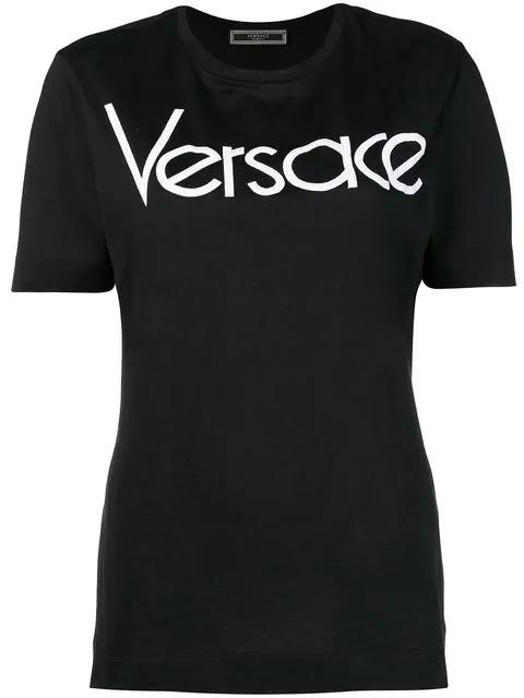 Versace Logo Vintage Cotton-Jersey T-Shirt In Black