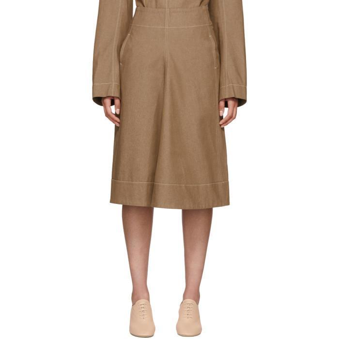 Lemaire Tan Denim Flared Skirt