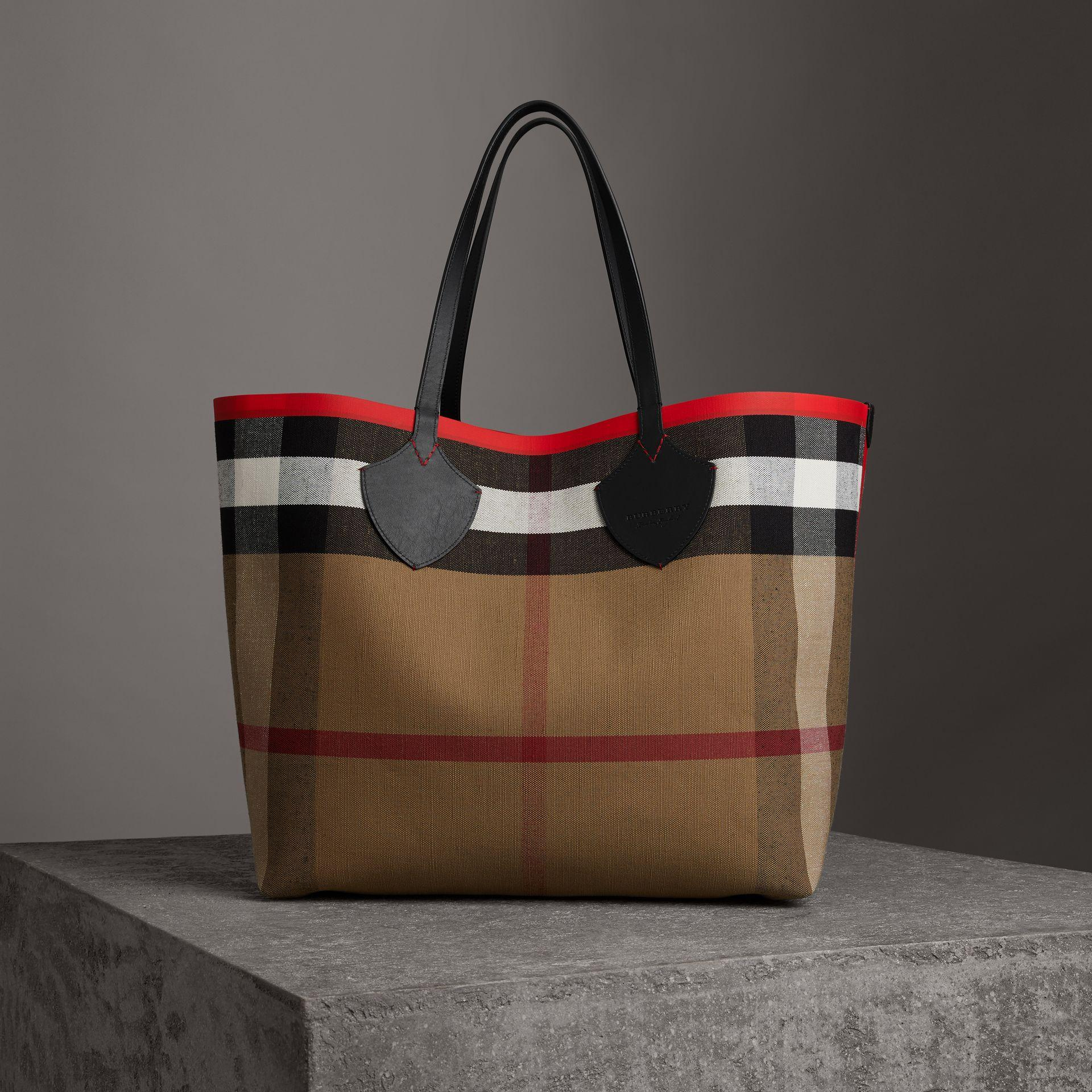 02b8d8eec529 Burberry The Giant Reversible Tote In Canvas Check And Leather In Military  Red Classic Check