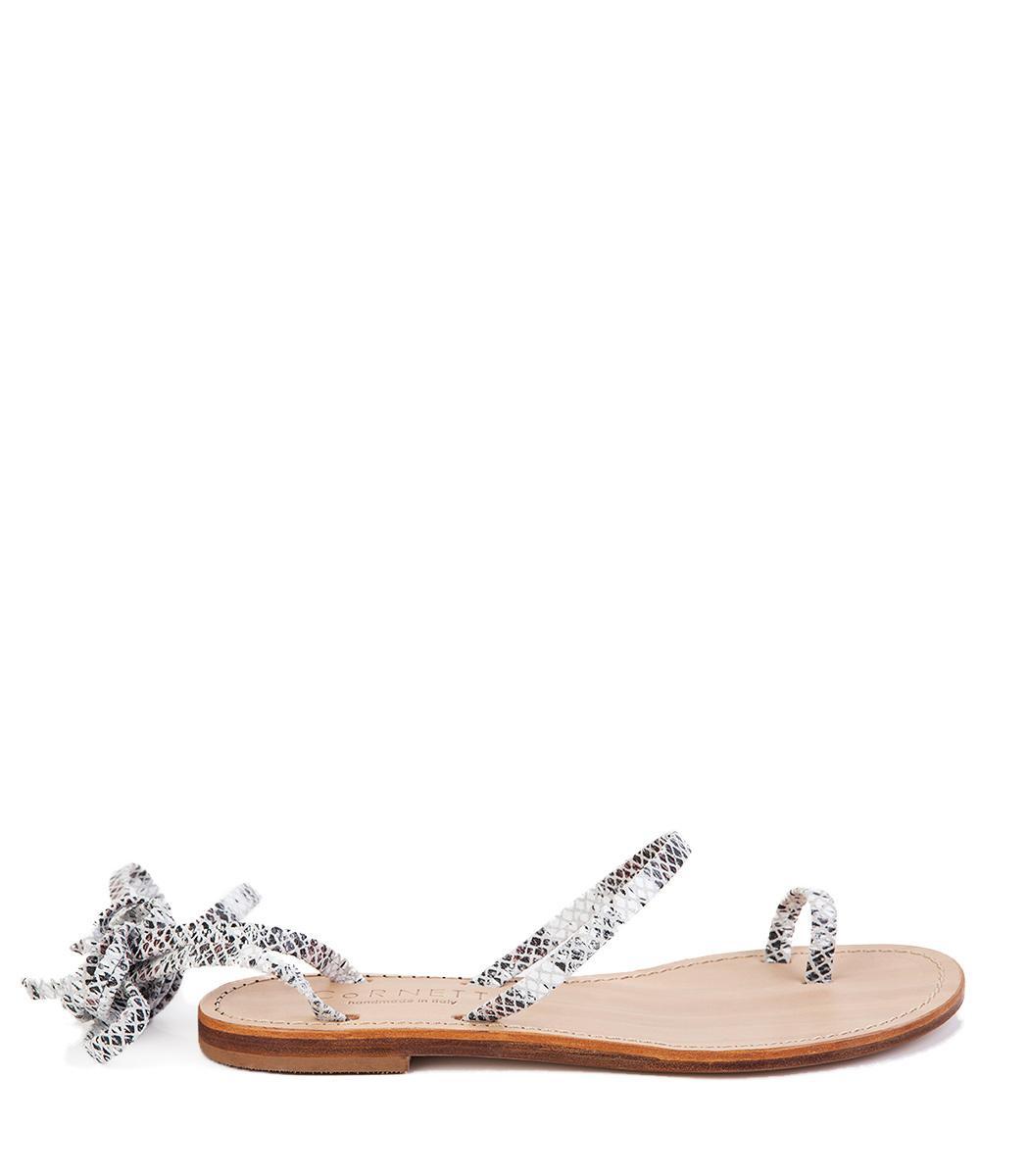6bb936529537 Cornetti Alicudi Sandal In White Python Embosed Leather