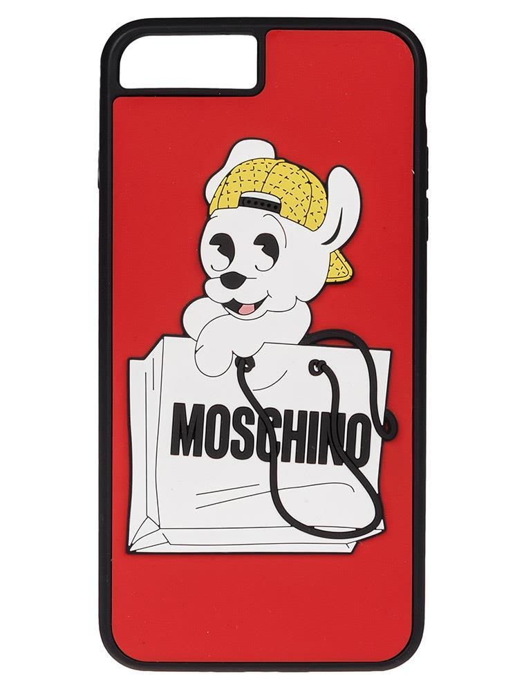Moschino Pudge & Logo Print Iphone 6+-7+ Case In Red