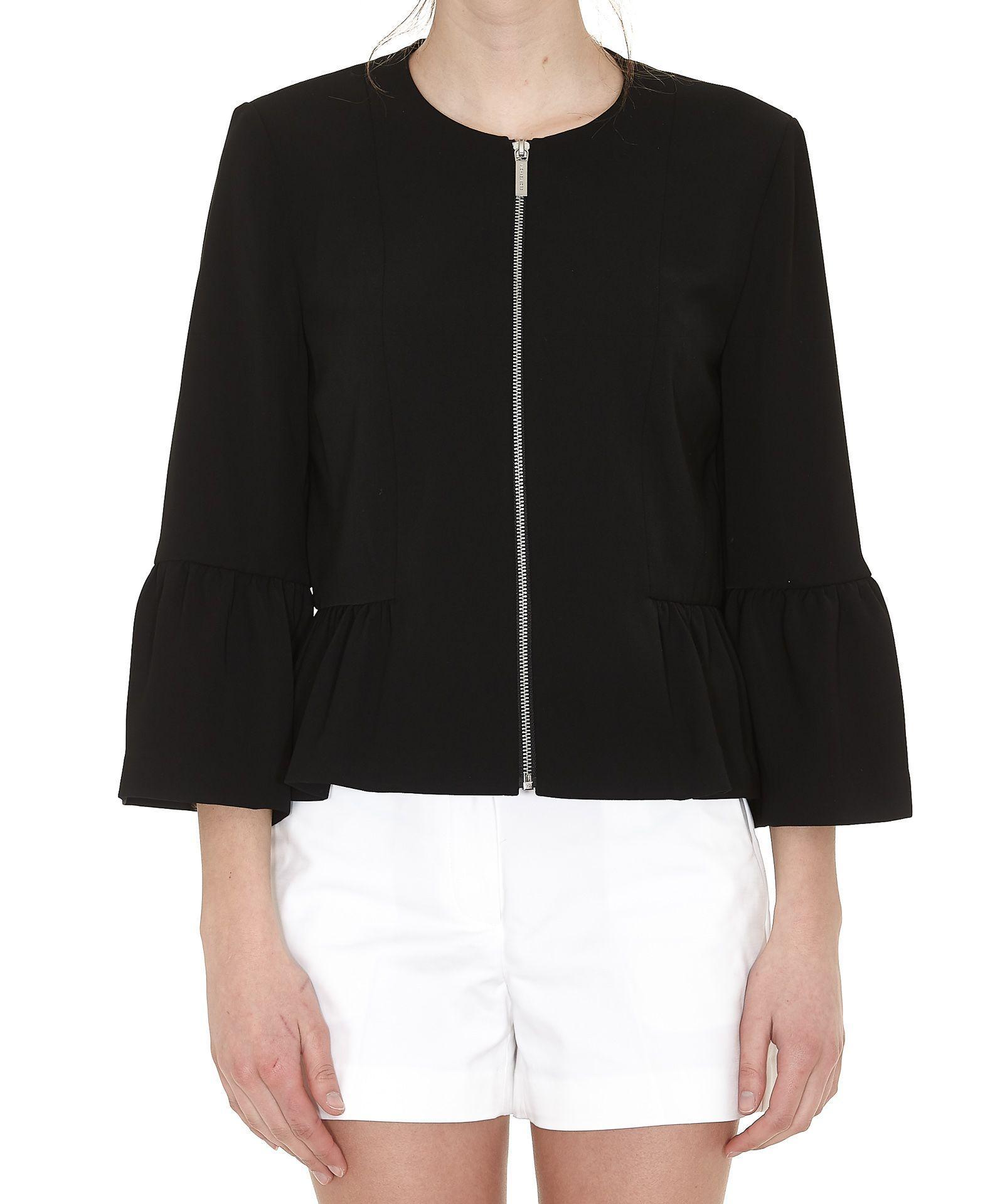 Michael Kors Ruched Peplum Jacket In Black