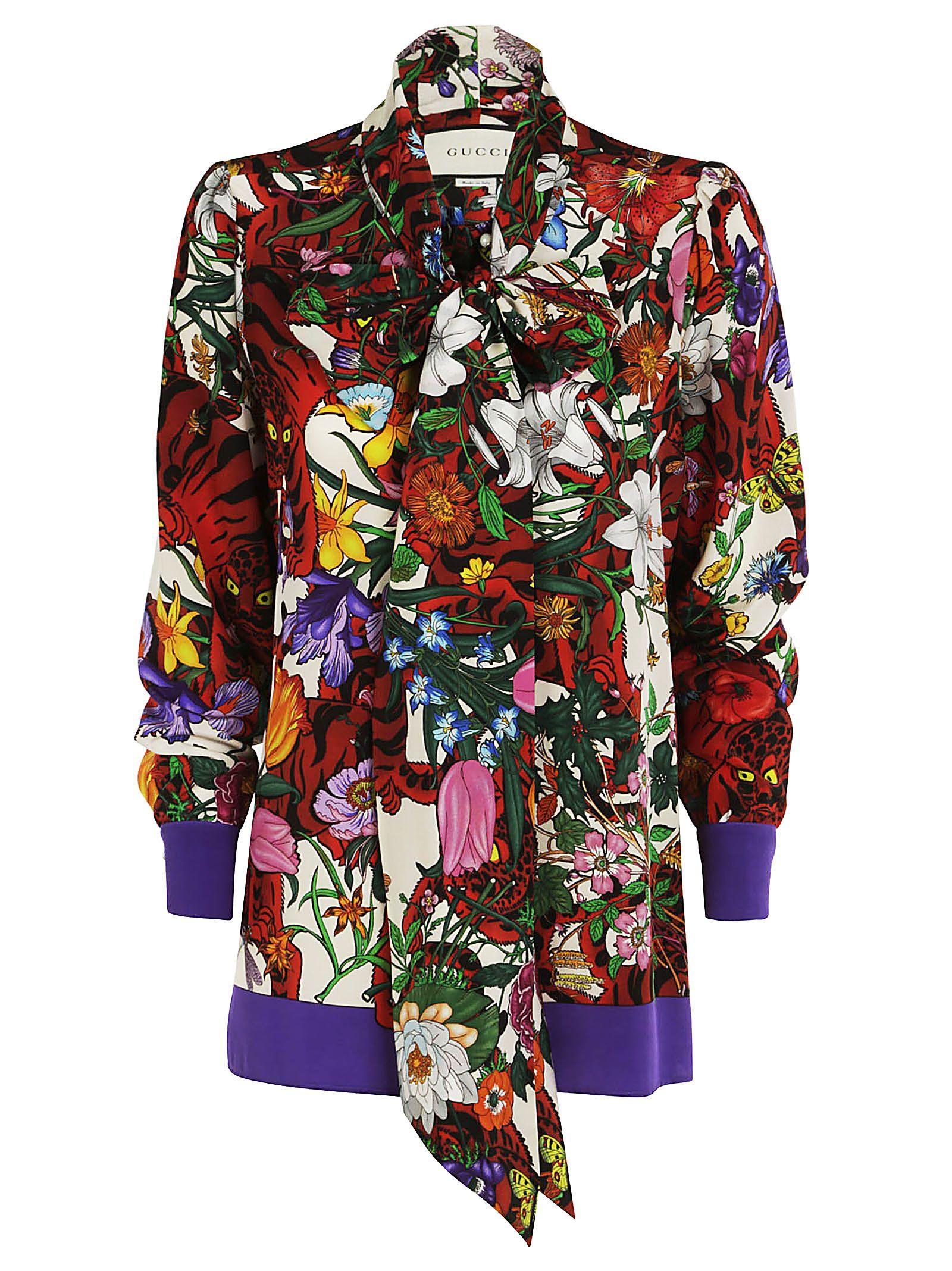 294507b4bdf9 Gucci Floral Tiger Print Shirt In Ivory Red | ModeSens