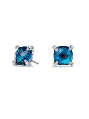 David Yurman ChÂTelaine® Earrings With Gemstones And Diamonds In Hampton Blue Topaz