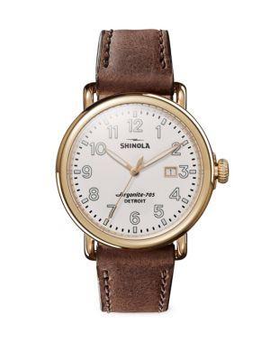 Shinola Runwell Leather Strap Watch In Brown