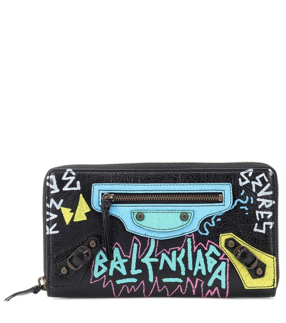 Balenciaga Classic Graffiti Continental Zip-Around Wallet In Black