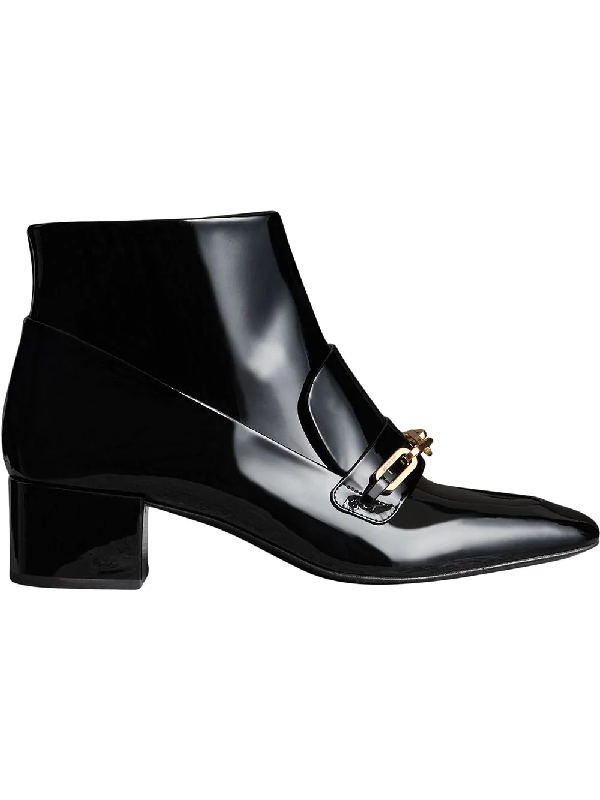 d9f1088c83d Burberry Link Detail Patent Leather Ankle Boots In Black | ModeSens