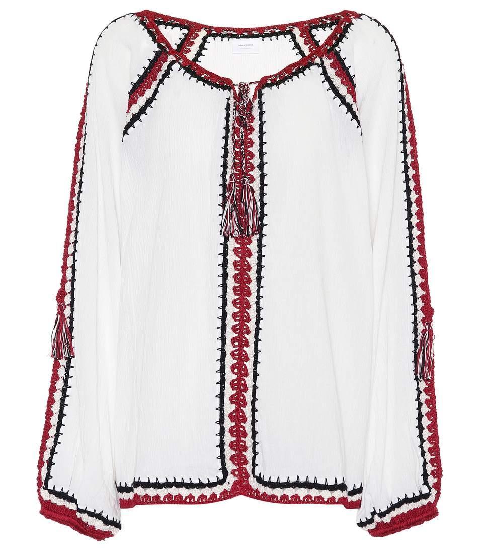 Anna Kosturova Medina Crochet Cotton Top In White