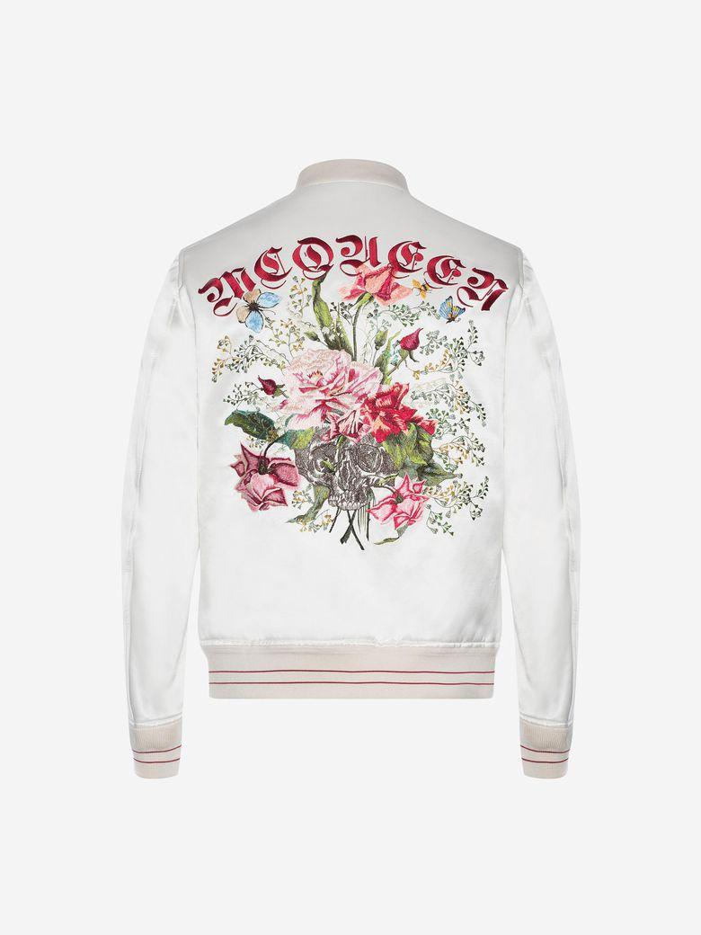 2d676a039 Alexander Mcqueen Embroidered Skull And Flower Bomber Jacket In ...