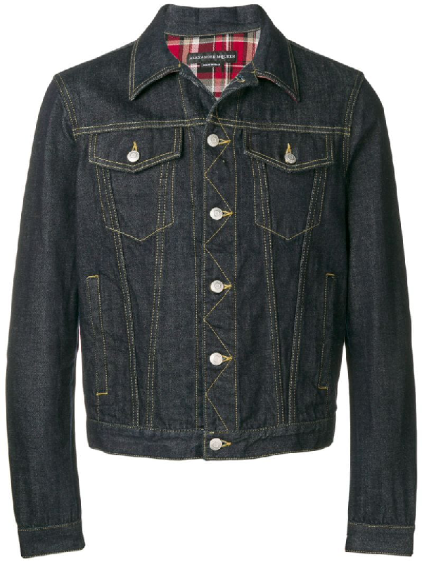 Alexander Mcqueen Men's Denim Jacket With Plaid Lining In Blue