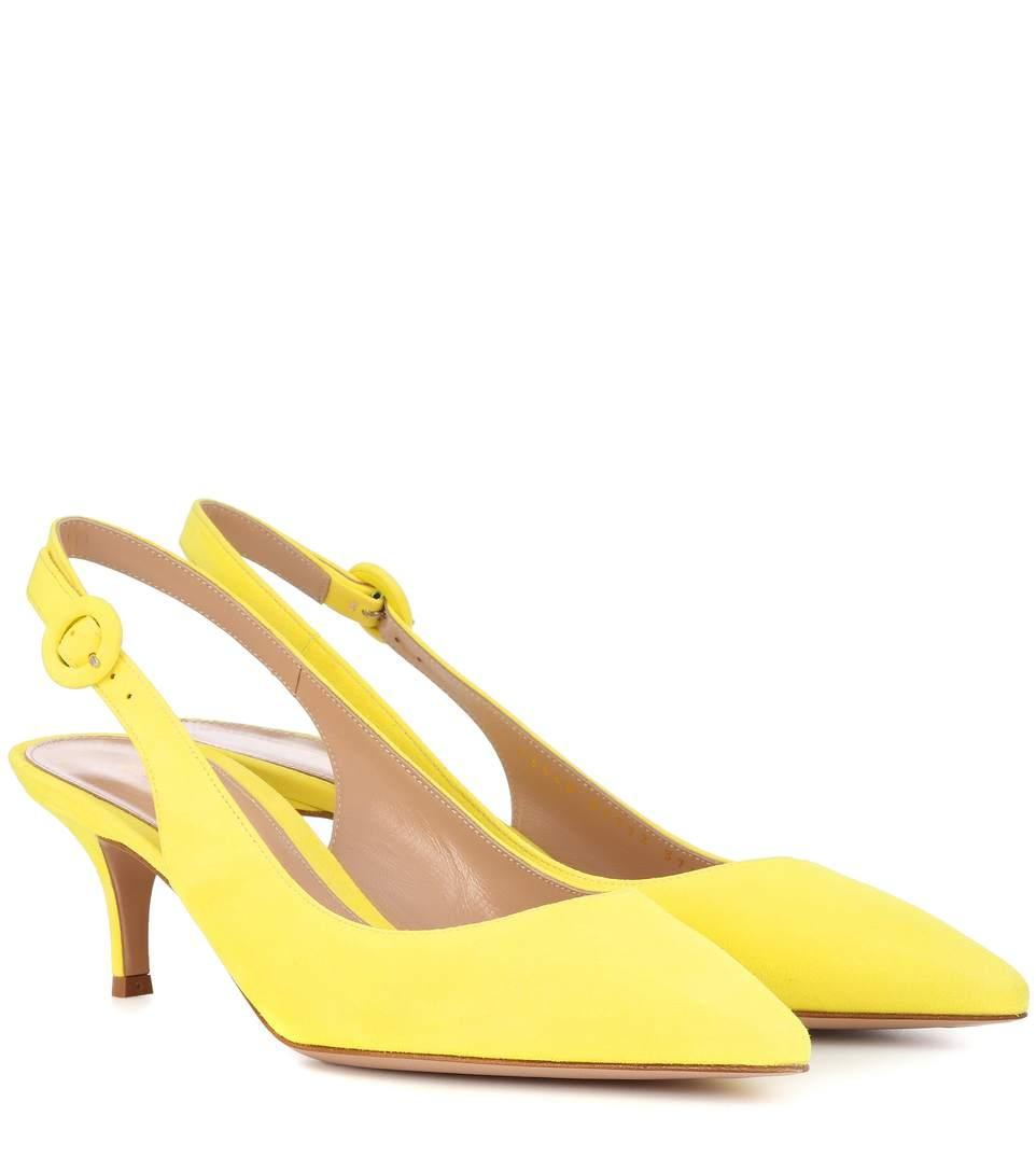 415043d04b8d Gianvito Rossi Exclusive To Mytheresa.Com - Anna 55 Suede Slingback Pumps  In Yellow