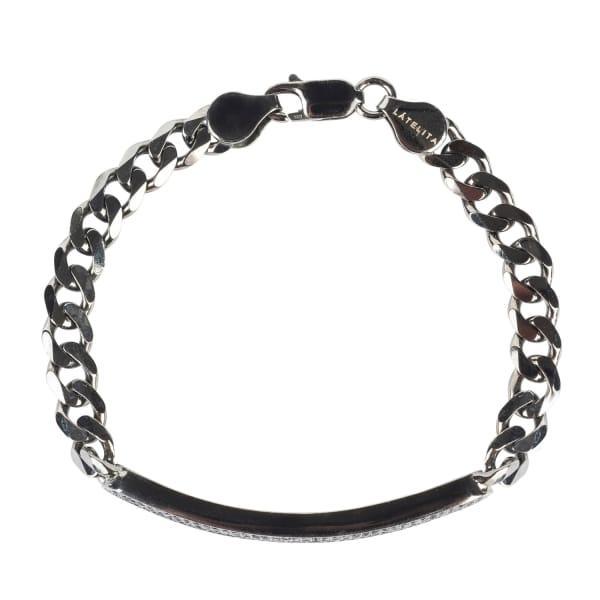 Latelita London Mens Dog Tag Bracelet Oxidised Sterling Silver