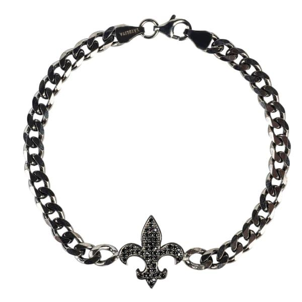 Latelita London Mens Fleur-De-Lis Bracelet Oxidised Sterling Silver