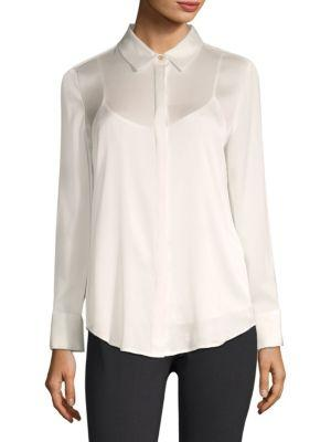 Dkny Long Sleeve Button-Down Shirt With Camisole In Ivory