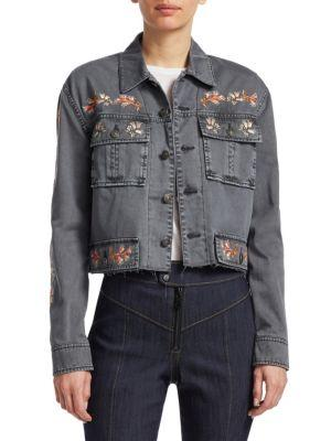 Cinq À Sept Folk Canyon Denim Jacket In Iron
