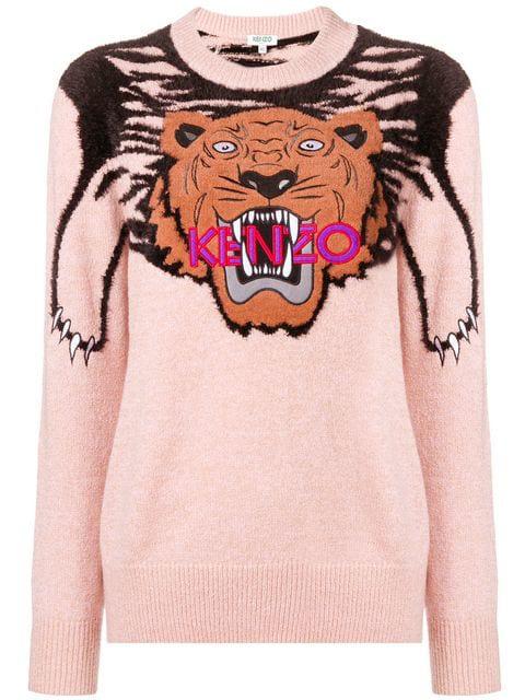 3fa29e19 Kenzo Claw Tiger Logo Crewneck Sweater In Pink | ModeSens