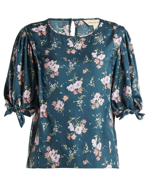 Rebecca Taylor Emilia Crewneck Tie-Sleeve Floral-Print Top In Navy Multi