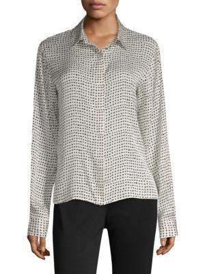 Donna Karan Polka-Dot Button-Down Blouse In Black White