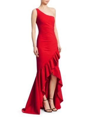 7a1b9ab13f8f Chiara Boni La Petite Robe Valeriana Ruffle High-Low Gown In Red ...