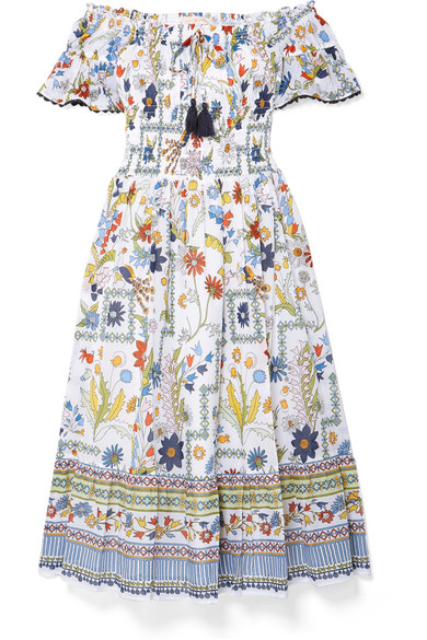 b03ede03ec Tory Burch Meadow Folly Off-The-Shoulder Floral Midi Dress In Ivory ...