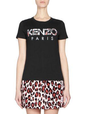 Kenzo Cotton Logo Tee In Black