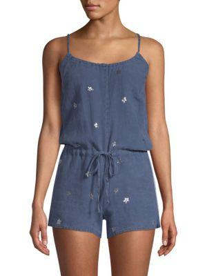 Bella Dahl Linen Tie-Waist Romper In Denim Blue