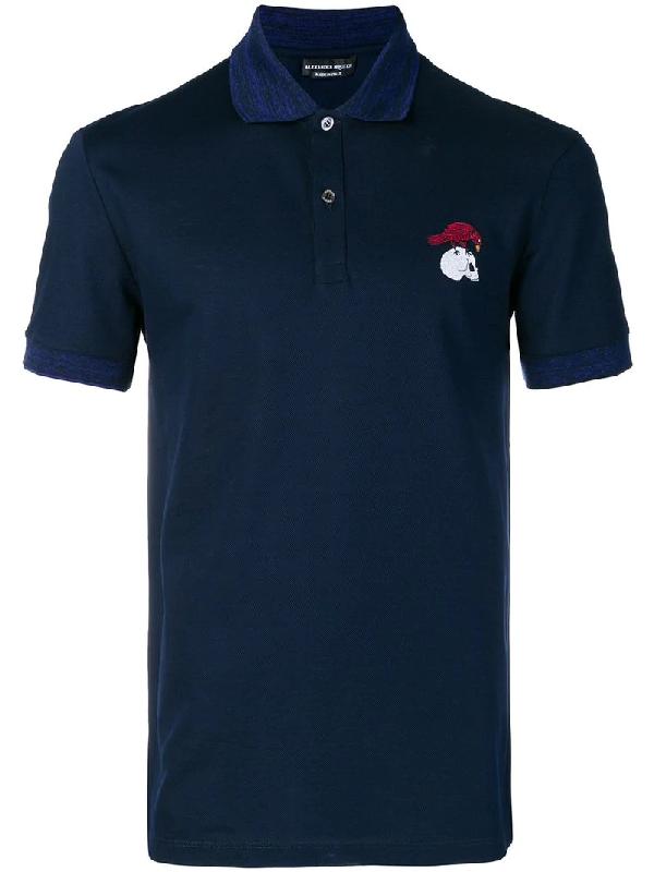Alexander Mcqueen Logo-Embroidered Cotton-PiquÉ Polo Shirt In Blue