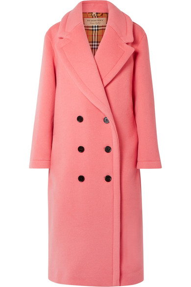 67e87b9a Burberry Walsingham Double Breasted Virgin Wool Cashmere Blend Coat In Pink