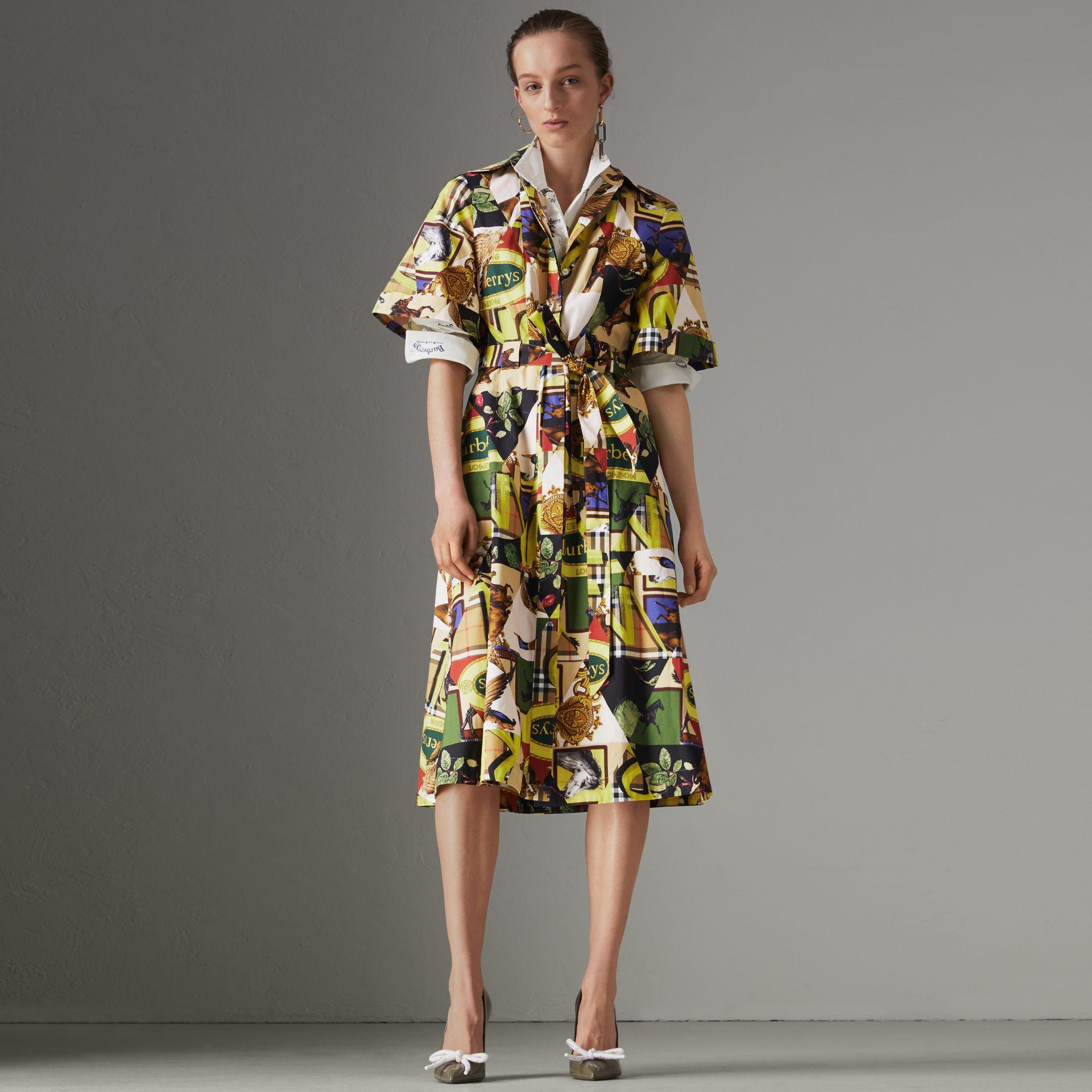 ec531a831f1e Burberry Graffitied Archive Scarf Print Shirt Dress In Multicolour ...