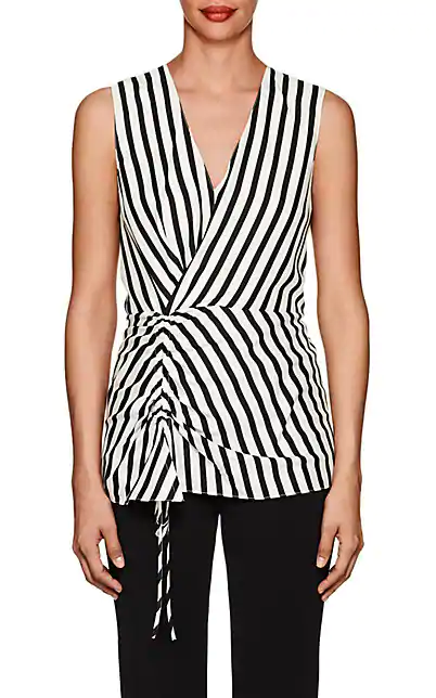 Derek Lam Striped Silk Sleeveless Blouse In Black White
