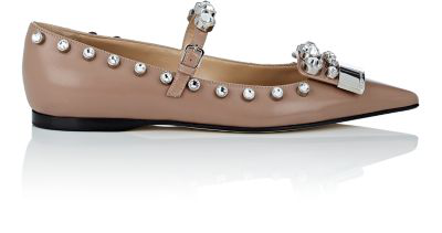 Sergio Rossi Crystal-Embellished Leather Flats - Nudeflesh