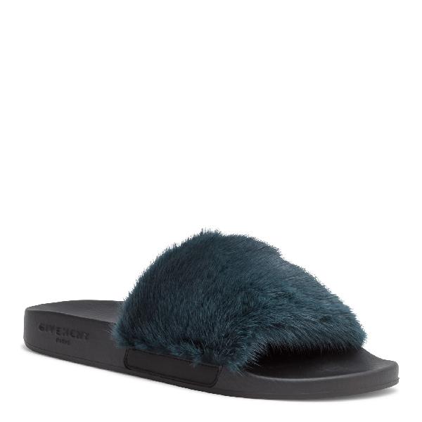 5bc675c1af82 Givenchy Mink Fur Slide Sandals - Dk. Green
