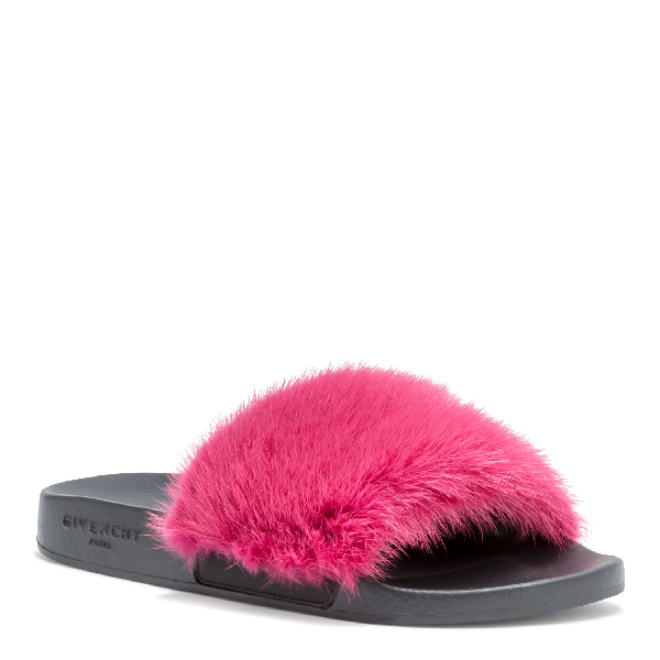 aa6b1a2aa1f0 Givenchy Mink Fur Slide Sandals - Md. Pink