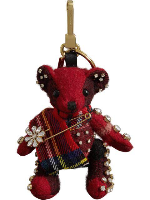 Burberry Thomas Bear Check Cashmere Bag Charm With Crystal Kilt Pin - Red