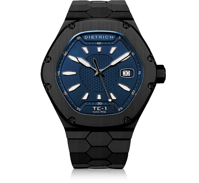 Dietrich Tc-1 Black Pvd Stainless Steel W/white Luminova And Blue Dial