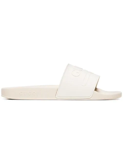 Gucci Pursuit Logo-Embossed Rubber Pool Slides In White